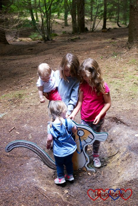 Jessica, Sophie and their cousins with the Mouse on the Gruffalo trail at Alice Holt Forest