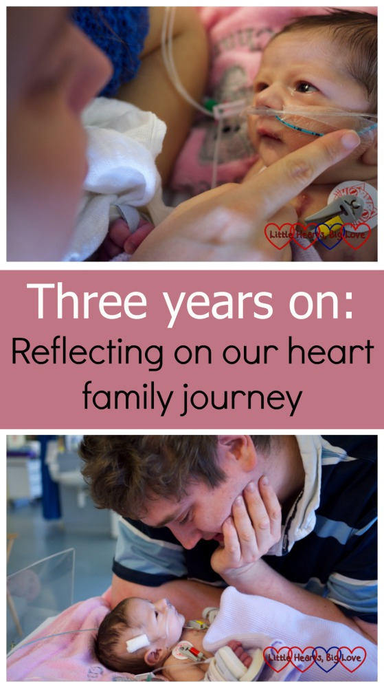 "A photo of baby Jessica looking at me (top) and gazing at Daddy (bottom) - ""Three years on: reflecting on our heart family journey"""
