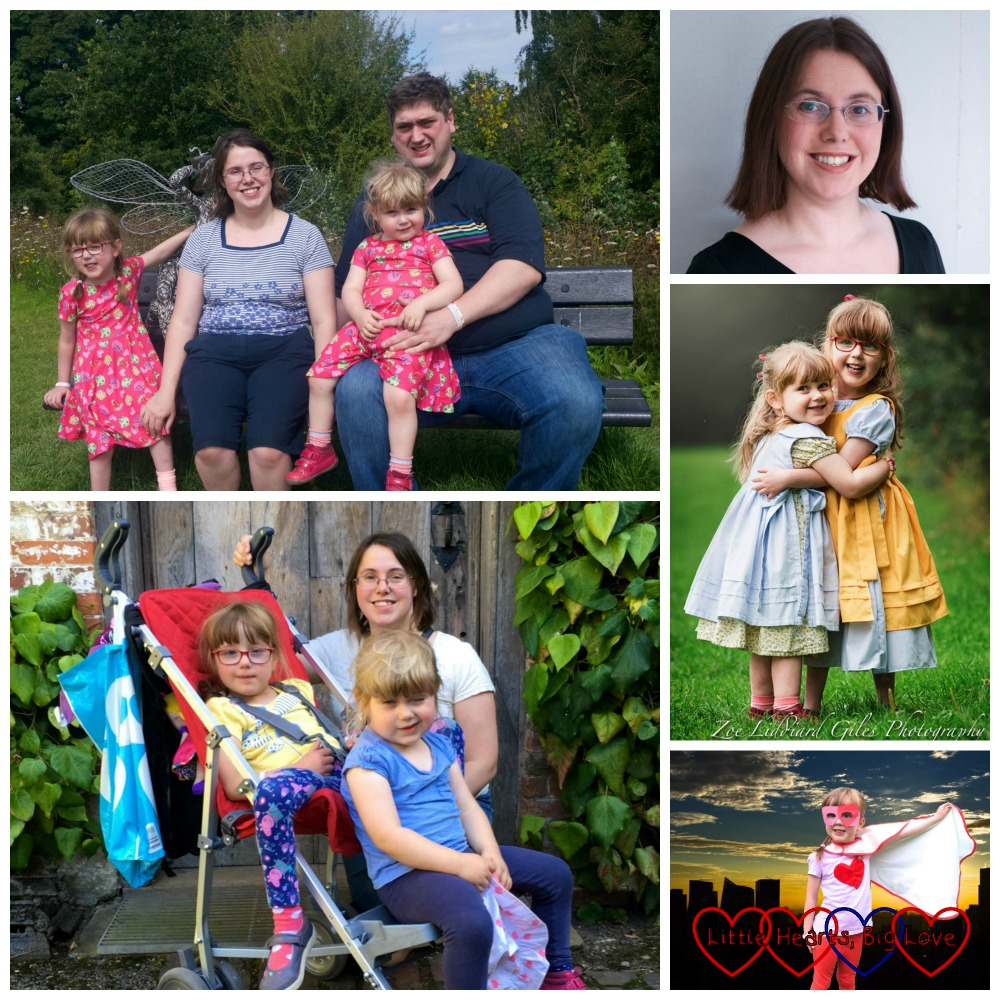 A collage of photos - me with hubby, Jessica and Sophie at Trentham Gardens; me with Jessica and Sophie at Baddesley Clinton; Jessica as a superhero; Jessica and Sophie cuddling; me
