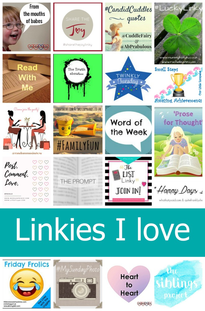 "A collage of linky badges from the linkies I enjoy joining in with - ""Linkies I Love"""