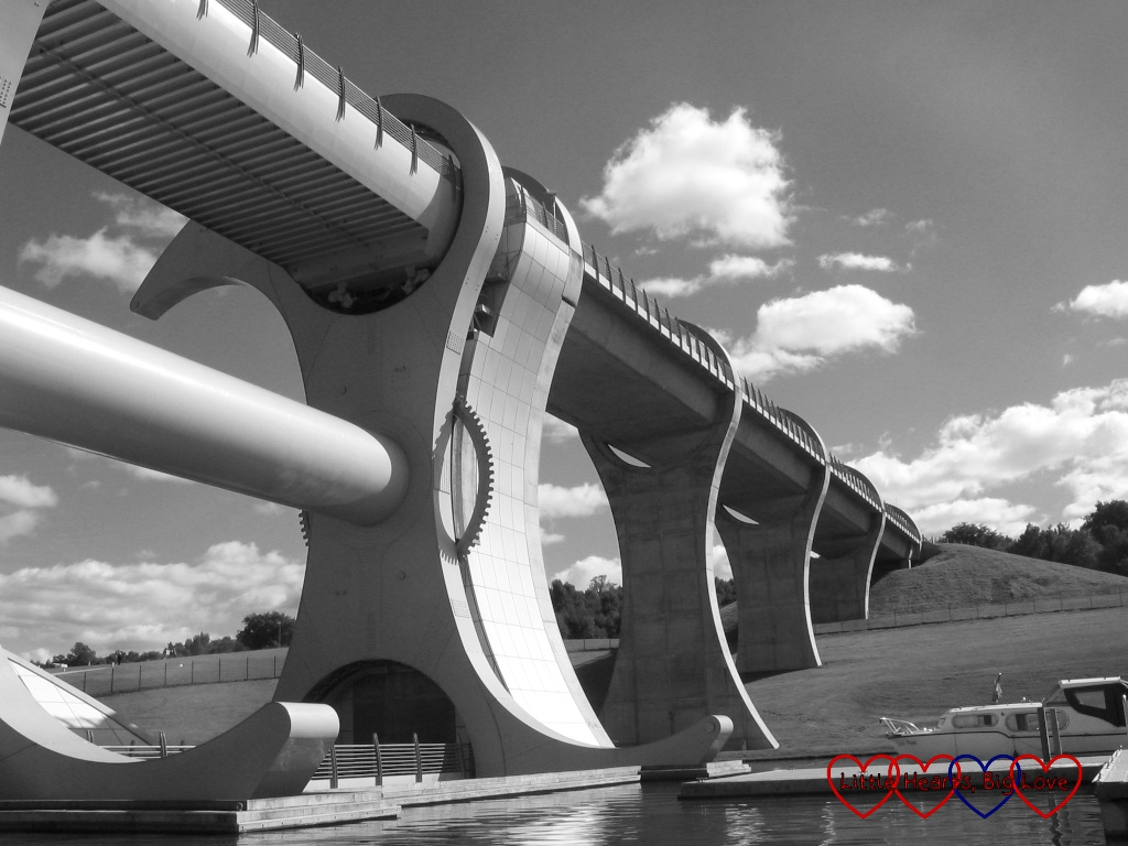 A black and white photo of the Falkirk Wheel