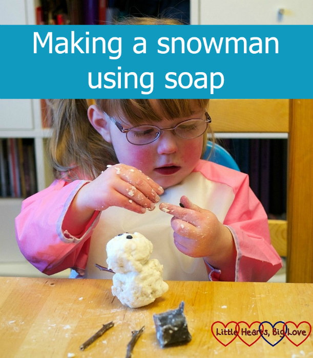 "Jessica making a snowman out of soap - ""Making a snowman using soap"""