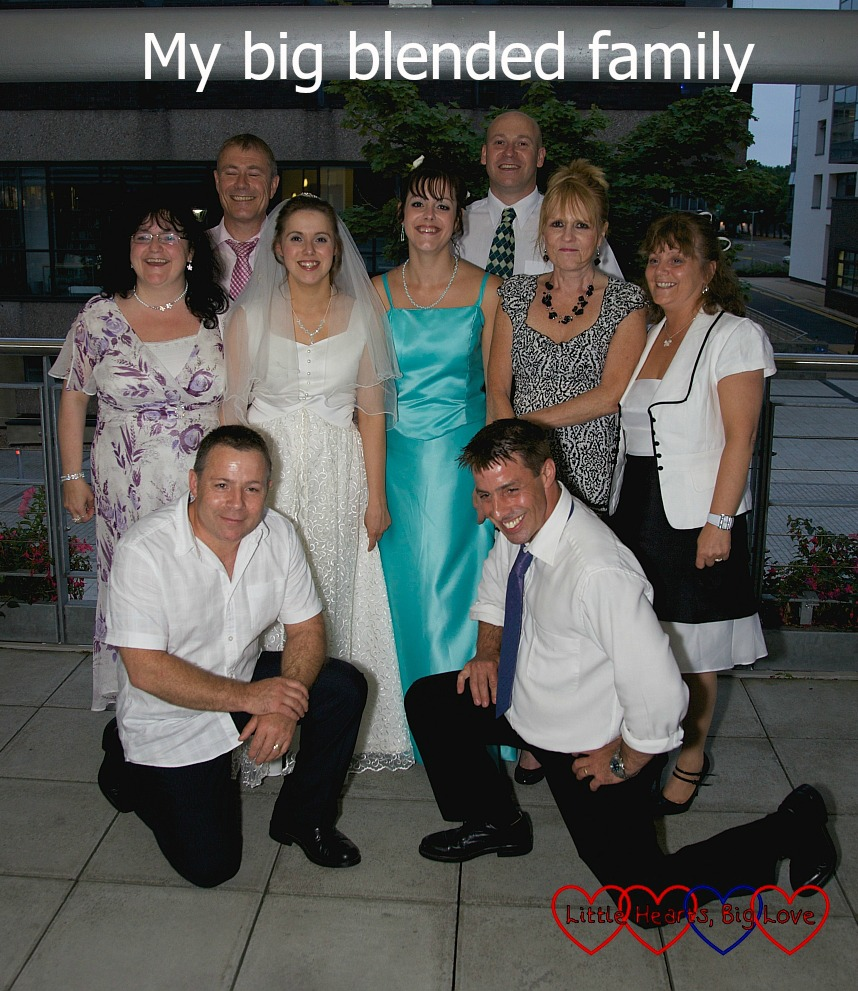 """Me with my four brothers and four sisters on my wedding day - """"My big blended family"""""""