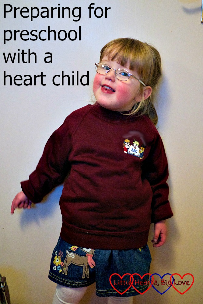 "Jessica in her preschool uniform - ""Preparing for preschool with a heart child"""