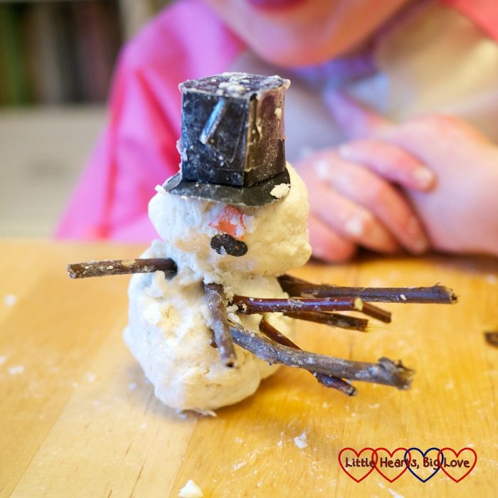 "Jessica's finished soapy ""snowman"""