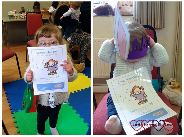 Jessica and Sophie with their signing certificates from TinyTalk
