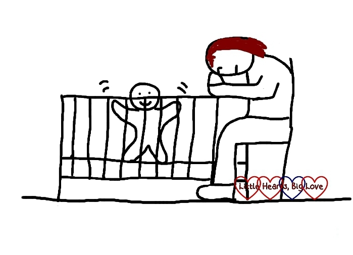 A cartoon of a mum falling asleep listening to bedtime music while her baby jumps up and down in the cot