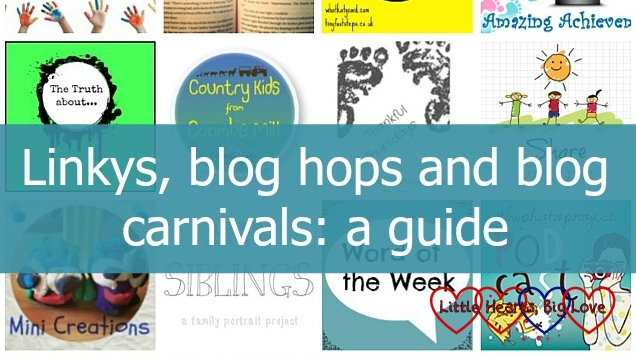 "A selection of linky badges with the text ""Linkys, blog hops and blog carnivals: a guide"""