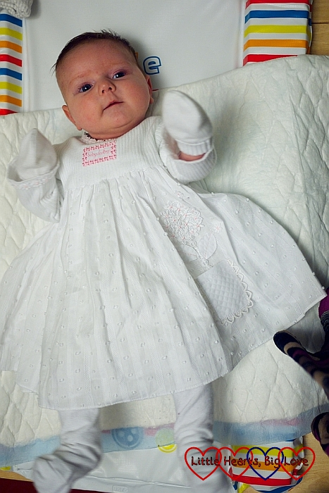 Jessica in her christening dress