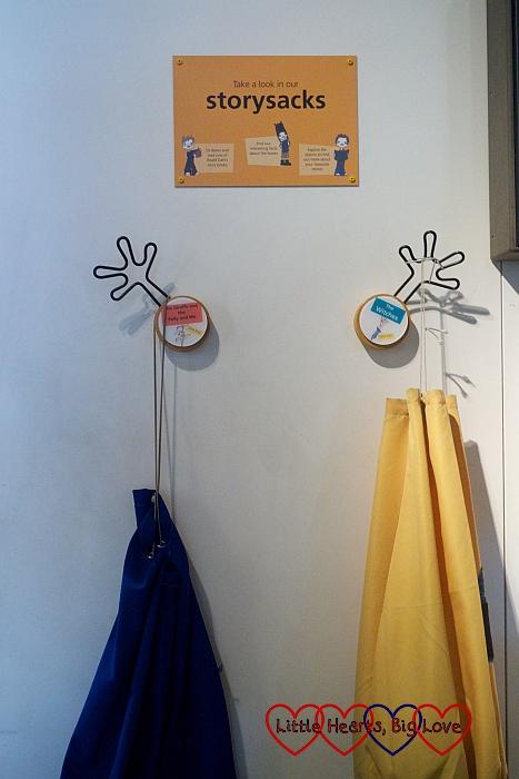 Story sacks hanging up at the Roald Dahl museum
