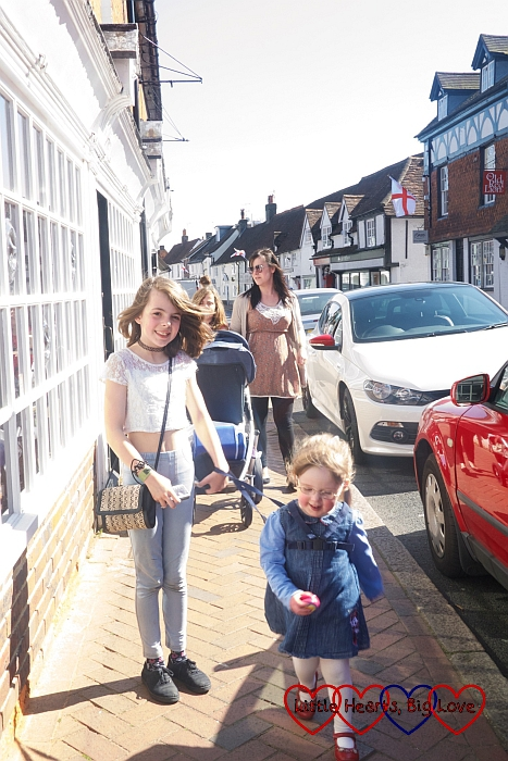 My sister and the four girls walking down Great Missenden High Street