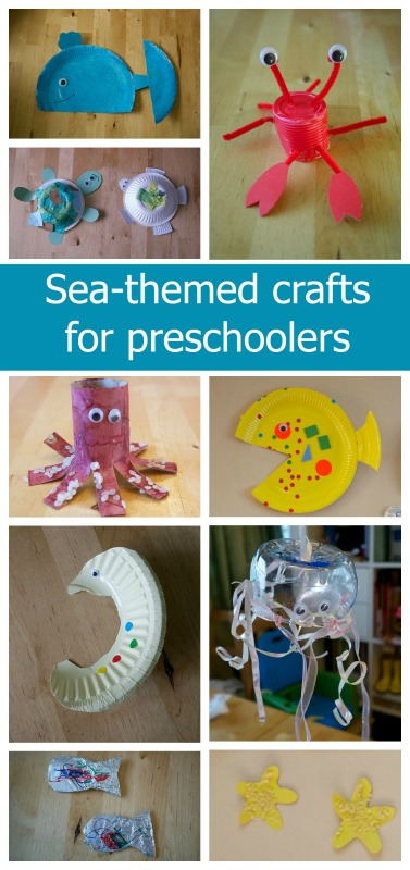 A collage of sea-themed crafts for preschoolers - including a whale, turtles, a crab, octopus, fish, seahorse, jellyfish and starfish.