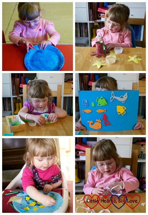A collage of photos showing Jessica and Sophie creating their sea creatures: Sea-themed crafts for preschoolers - Little Hearts, Big Love