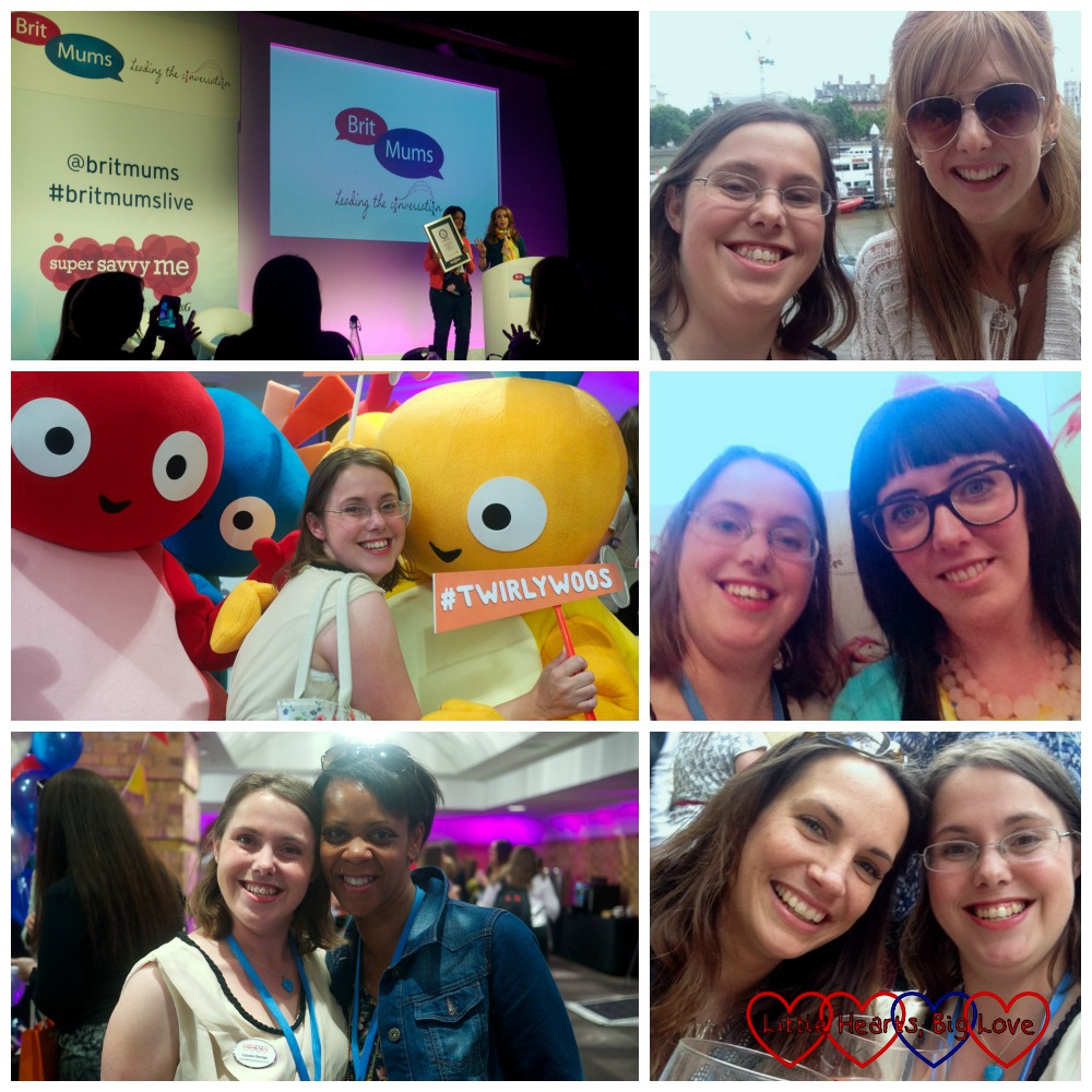 A collage of photos from Britmums Live (the organisers holding the Guiness World Record certificate; me with Sarah from Run, Jump, Scrap; me with the Twirlywoos; me with Dawn from Dear Mummy blog; me with Tracey from Mummyshire and me with Mel from Le Coin de Mel)