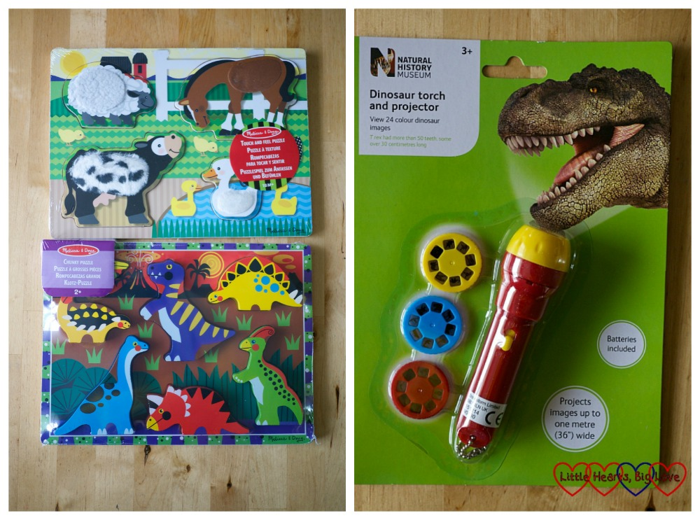 Two wooden puzzles and a dinosaur torch and projector