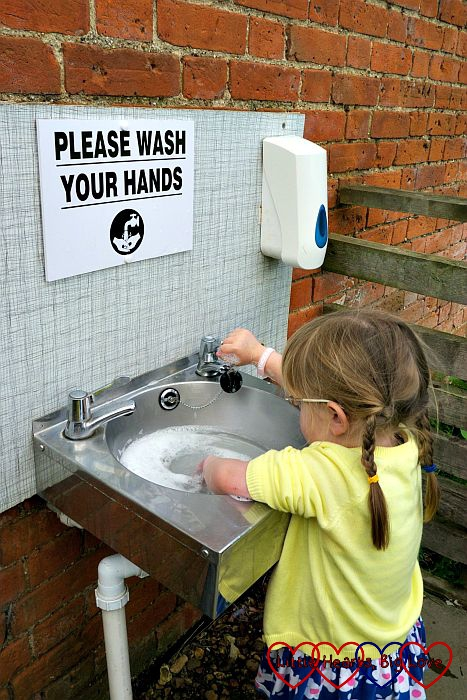 Washing our hands after visiting the animals at Langleybury Children's Farm - Little Hearts, Big Love