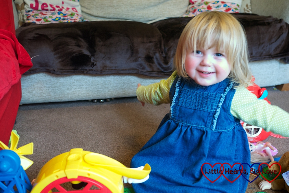 """An excited """"I did it!"""" from Sophie whilst playing with her toy farm - The Friday Focus 18/09/15 - Little Hearts, Big Love"""