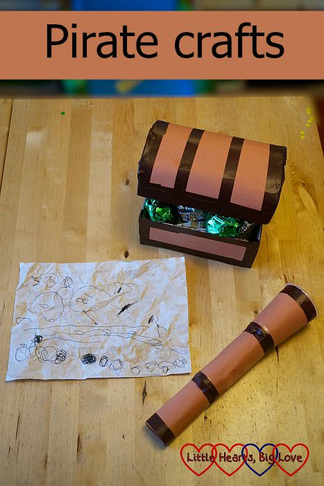 Pirate crafts - Little Hearts, Big Love - make ye-self a treasure map for yer booty, a spyglass to keep watch for scurvy knaves and a treasure map...