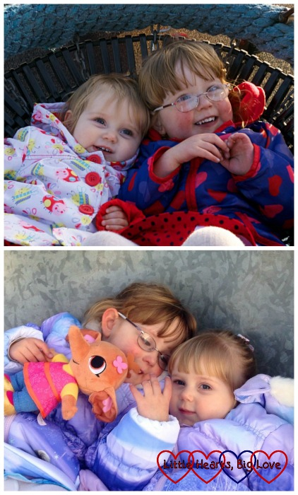 Two little girls, two birthday photos a year apart - Birthday fun at the park - Little Hearts, Big Love