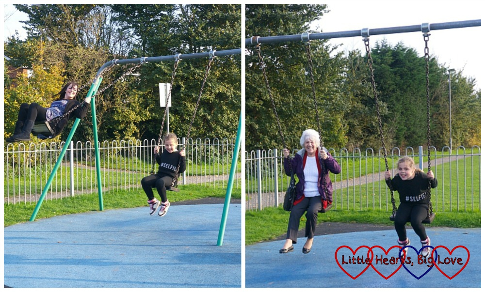 Big kids on the swings - Birthday fun at the park - Little Hearts, Big Love