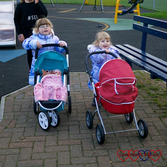 Taking the dollies' buggies out for a walk - Birthday fun at the park - Little Hearts, Big Love