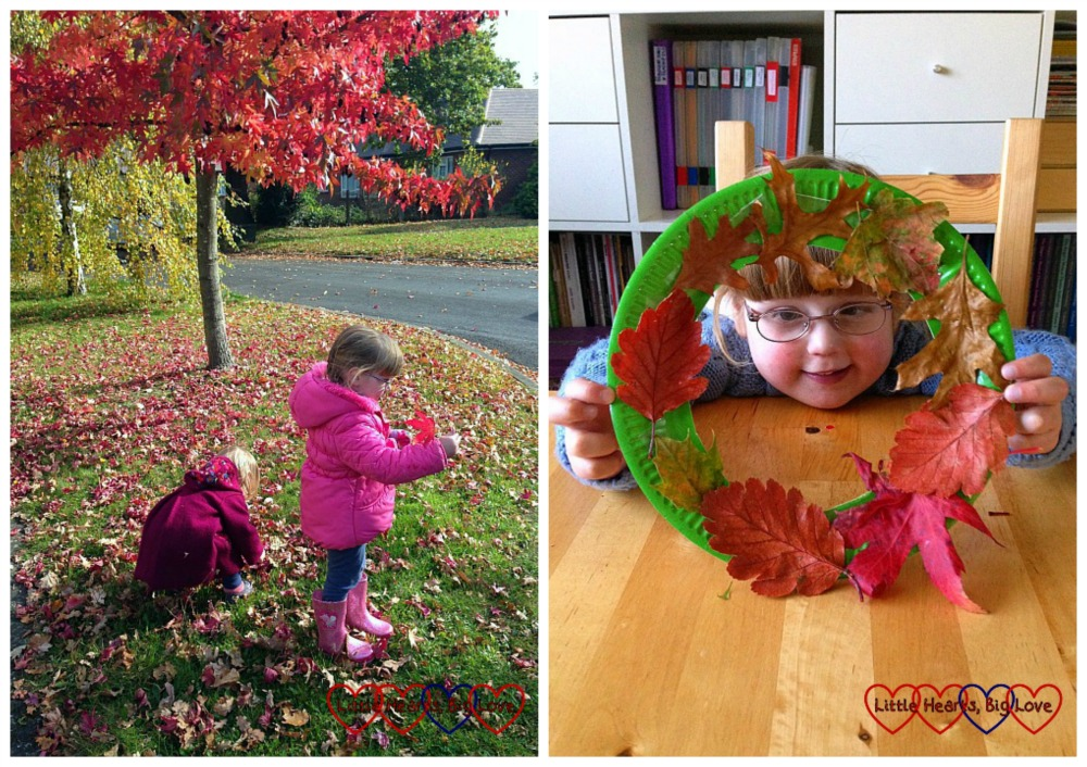 Collecting autumn leaves and making a leaf wreath - The Friday Focus 23/10/15 - Little Hearts, Big Love