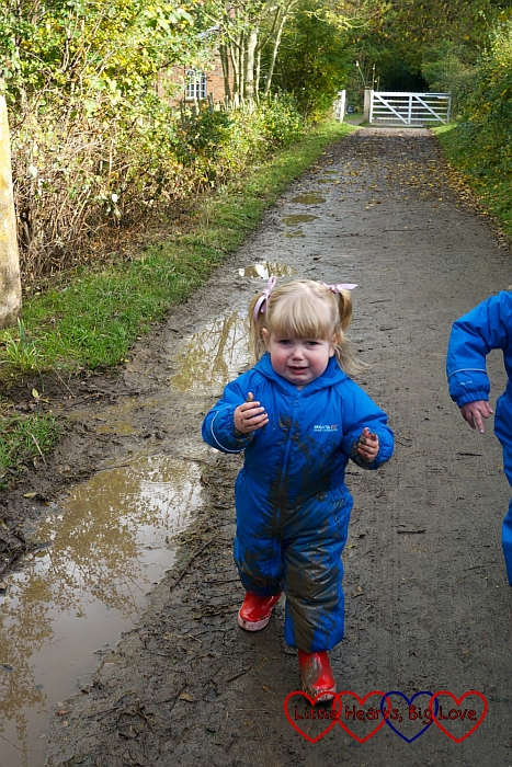 Falling over in muddy puddles - An autumn walk at Chiltern Open Air Museum - Little Hearts, Big Love
