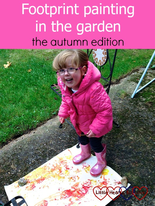 "Jessica making welly boot prints - ""Footprint painting in the garden - the autumn edition"""