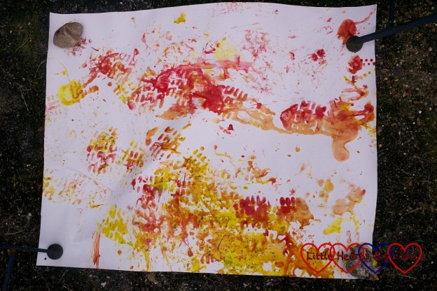 Welly boot paint prints in red, yellow and orange
