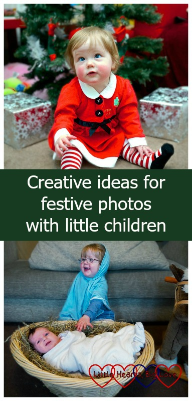 Creative ideas for festive photos with little children - our Christmas card photo album - Little Hearts, Big Love