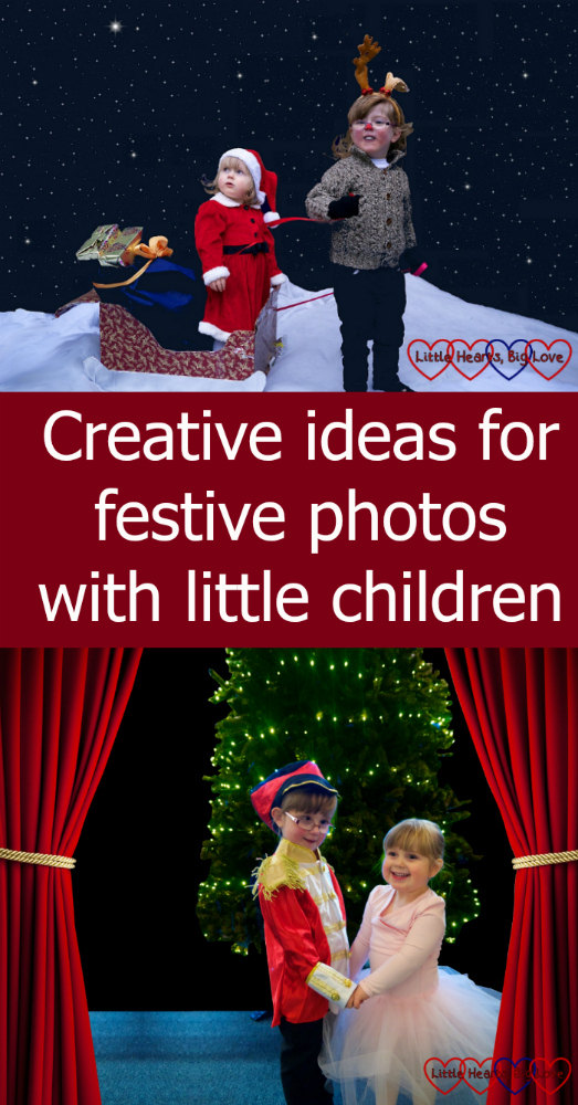 "Jessica and Sophie dressed as Santa and Rudolph (top) and recreating a scene from the Nutcracker (bottom) - ""Creative ideas for festive photos with little children"""