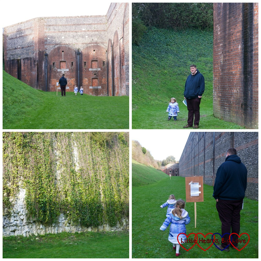 Four photos showing Jessica and Sophie looking for the various clues around the outside of Fort Nelson