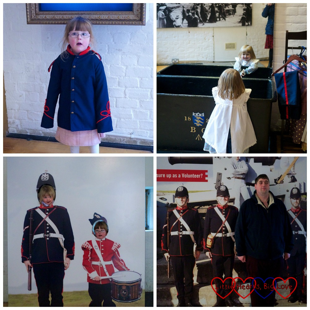Jessica and Sophie dressing up in military uniform and Victorian outfits at Fort Nelson