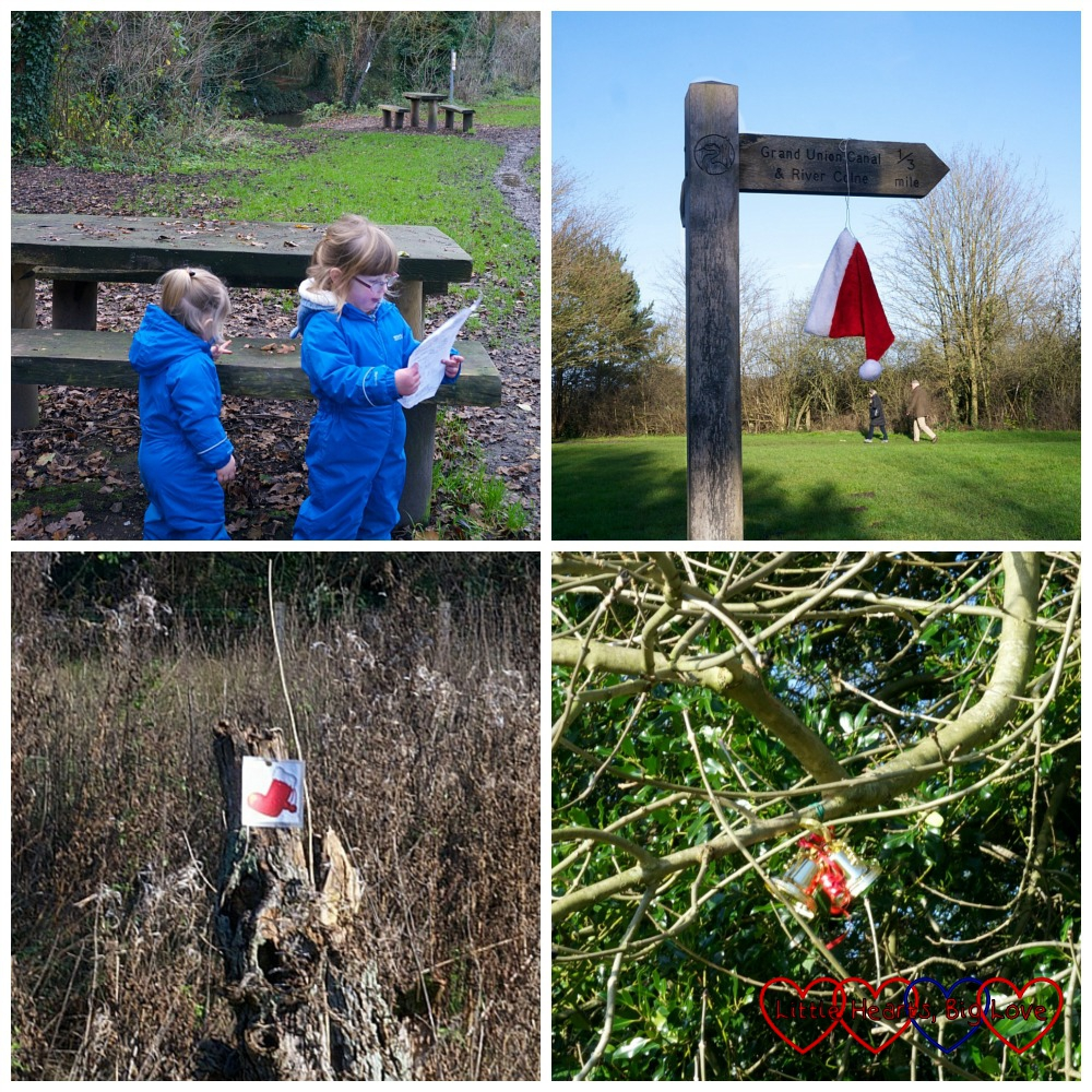 Looking out for clues on a winter treasure trail at Denham Country Park - Little Hearts, Big Love