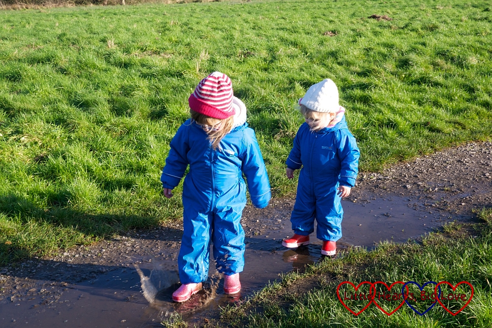 Jumping in muddy puddles - A winter treasure trail at Denham Country Park - Little Hearts, Big Love
