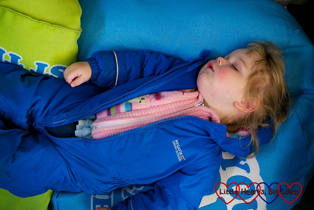 A tired out little girl after our walk - A winter treasure trail at Denham Country Park - Little Hearts, Big Love