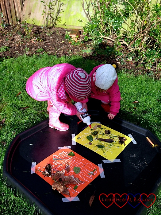 Sticking down objects from the garden: Outdoor fun: creating a nature collage in the garden - Little Hearts, Big Love