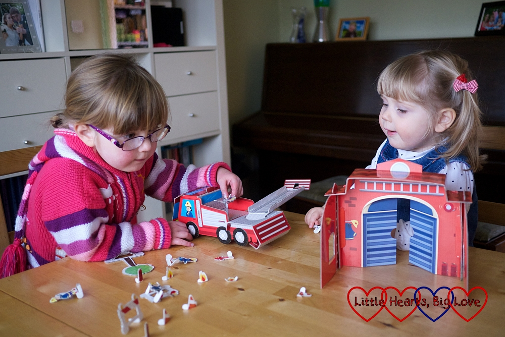 Playing with the fire station playset - Review - Fire Station Activity Book and Playset from Parragon Books - Little Hearts, Big Love
