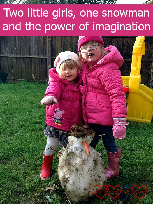 """Jessica and Sophie with their snowman - """"Two little girls, one snowman and the power of imagination"""""""