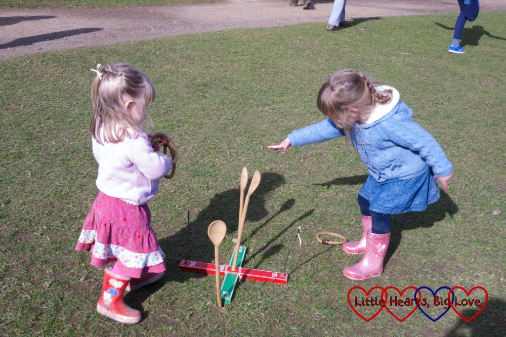 Playing hoopla - Easter fun at Chiltern Open Air Museum - Little Hearts, Big Love