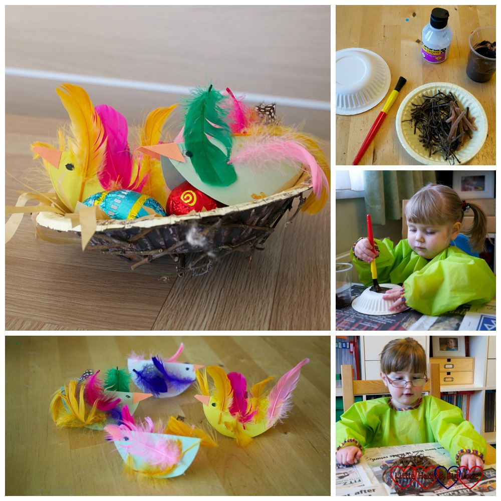 Paper bowl birds' nests - Easter crafts for toddlers and preschoolers - Little Hearts, Big Love