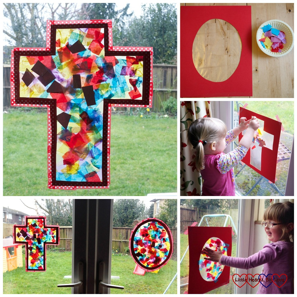 "Easter themed ""stained glass"" windows - Easter crafts for toddlers and preschoolers - Little Hearts, Big Love"