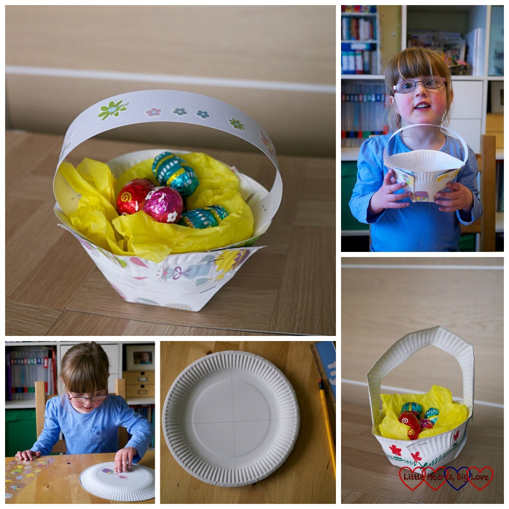 Paper plate Easter egg baskets - Easter crafts for toddlers and preschoolers - Little Hearts, Big Love