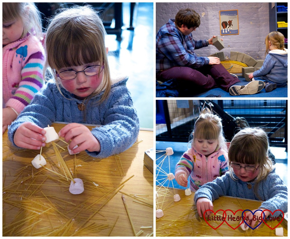 Making structures from spaghetti and marshmallows - London Canal Museum Family Science Challenge Day - Little Hearts, Big Love