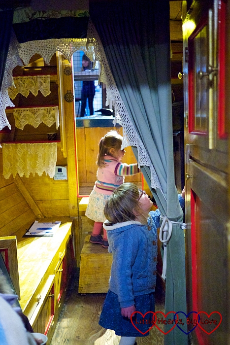 Exploring the inside of a canal boat - London Canal Museum Family Science Challenge Day - Little Hearts, Big Love