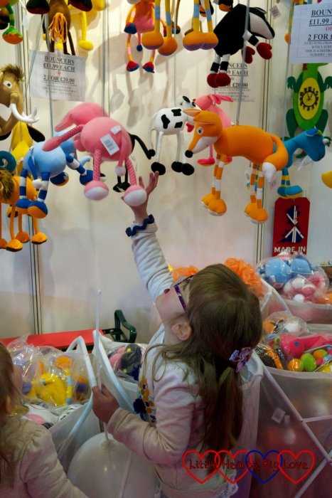 Checking out the toys at the Baby & Toddler Show