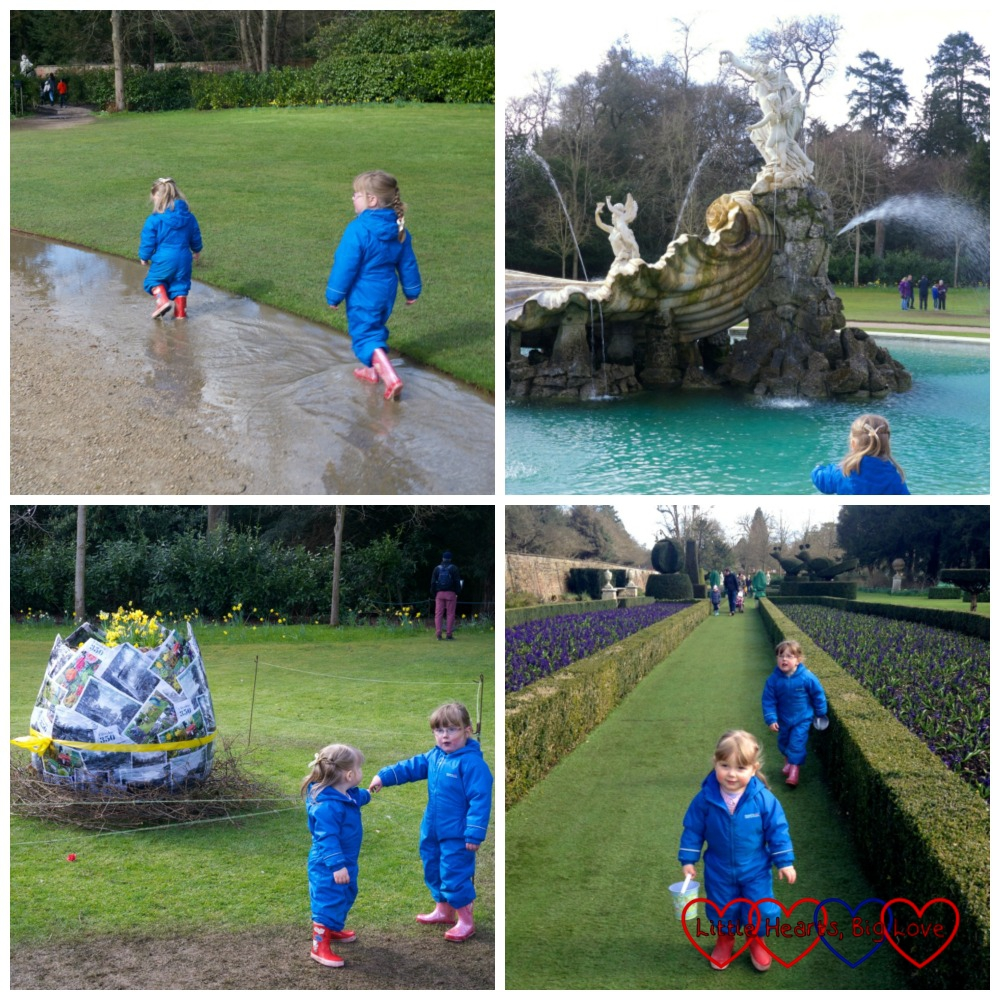 Heading towards the Fountain of Love - Hunting for Easter eggs at Cliveden - Little Hearts, Big Love