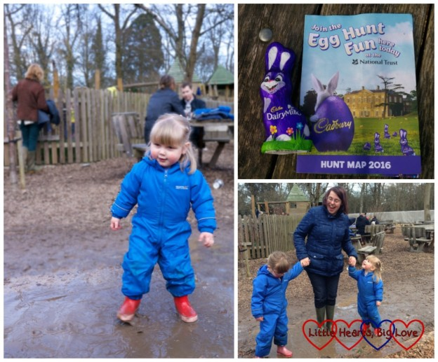 Jumping in muddy puddles - Hunting for Easter eggs at Cliveden - Little Hearts, Big Love