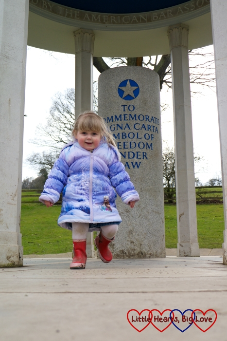 Sophie at the Magna Carta memorial