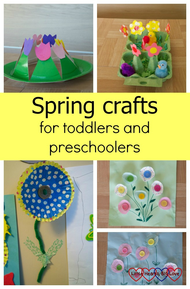 "A spring flower paper plate crown; a flower garden in an egg box; cupcake case flowers; a flower picture made with small cupcake cases - ""Spring crafts for toddlers and preschoolers"""